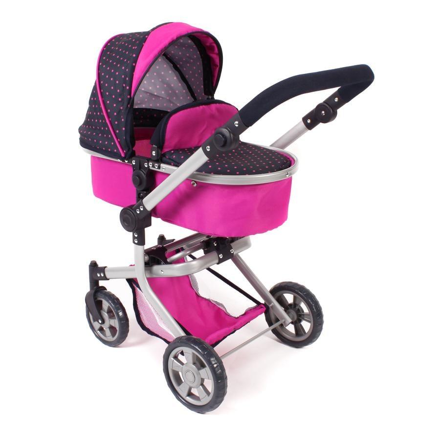 BAYER CHIC 2000 Wózek Kombi dla lalek MIKA dots Navy pink