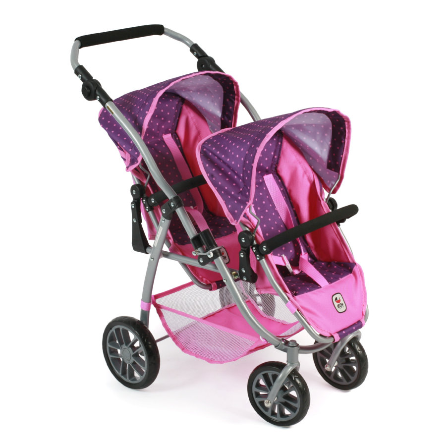 BAYER CHIC 2000 Tandem-Buggy VARIO dots purple pink