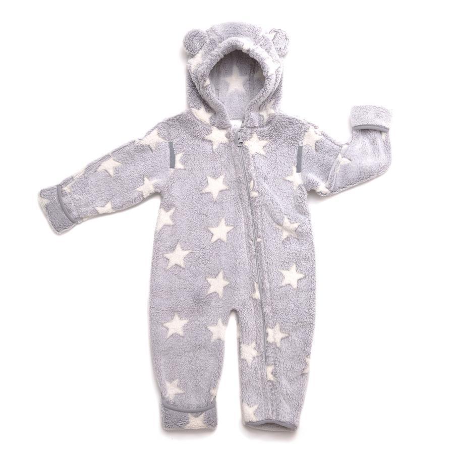 Hoppediz Fleece-Overall grau-creme mit Sternen