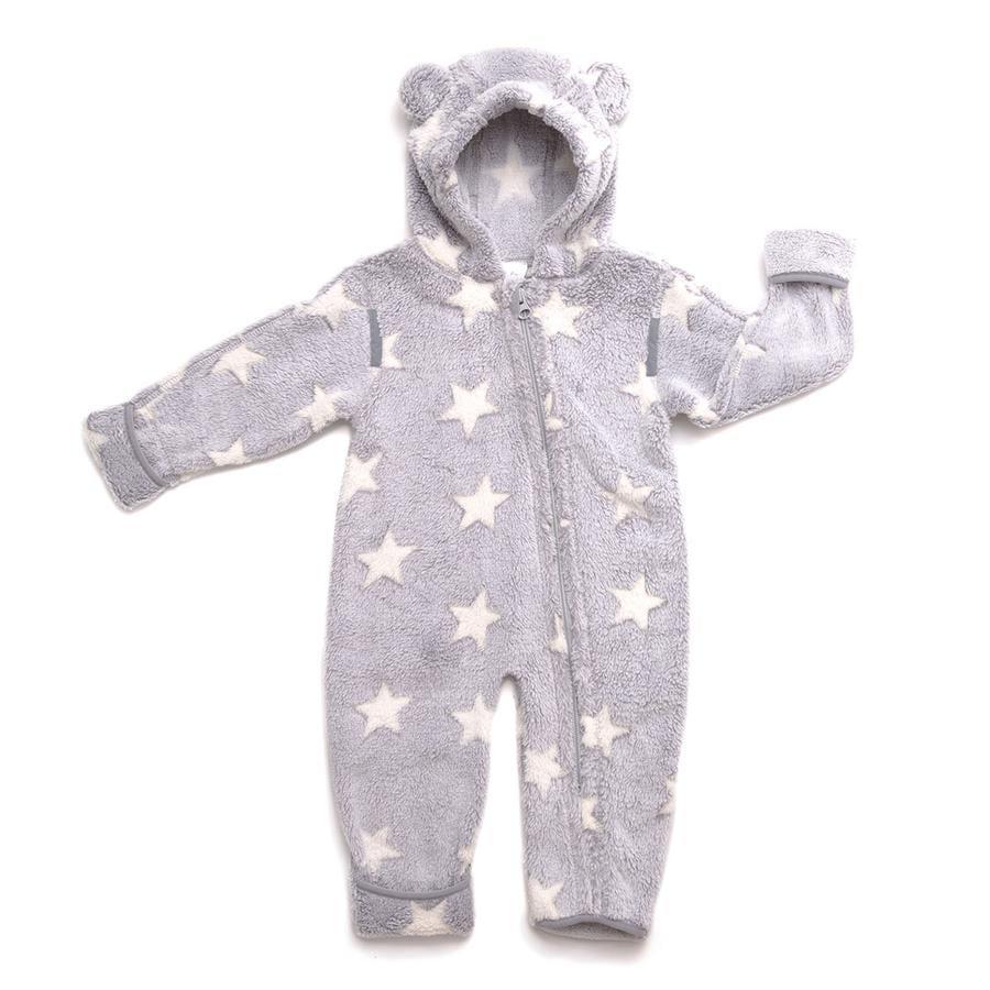 Hoppediz Fleece-Overall grijs-creme met sterren