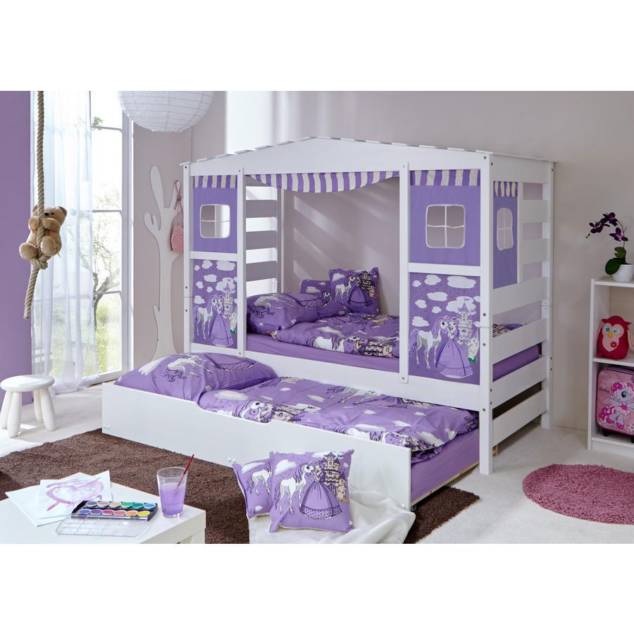 TiCAA Lit cabane gigogne enfant Horse violet, deuxième lit 90x200 cm