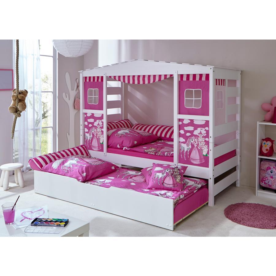 TiCAA Hausbett mit Zusatzbett Horse Rosa