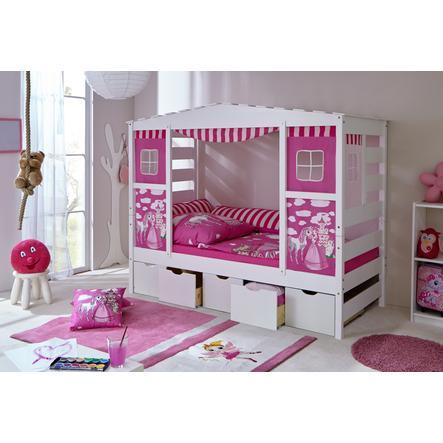 TiCAA postel s 5 šuplaty Horse Rosa