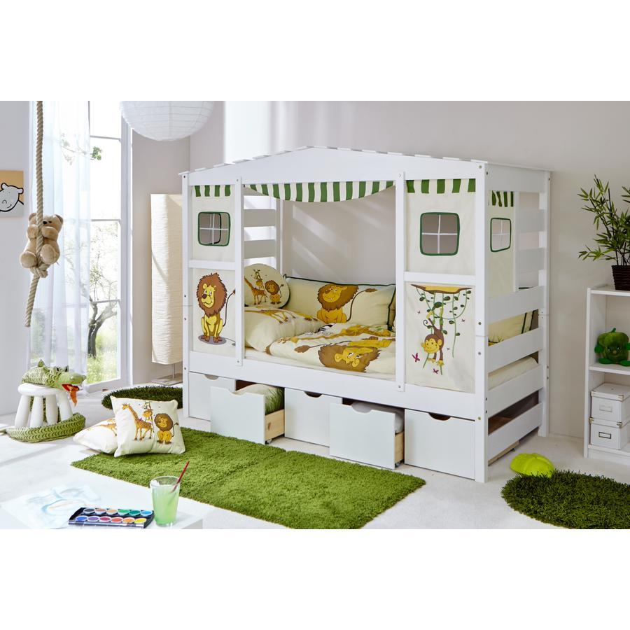 TiCAA Hausbett mit 5 Schubladen Safari