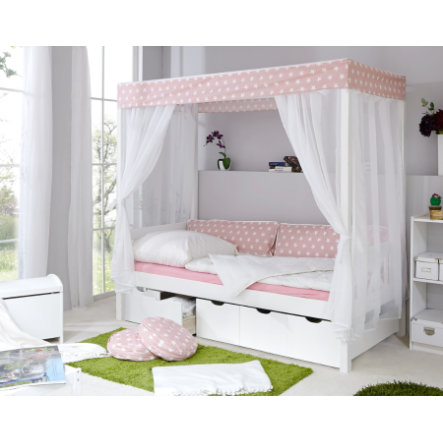 ticaa lit baldaquin enfant toile rose var 2 5 tiroirs. Black Bedroom Furniture Sets. Home Design Ideas