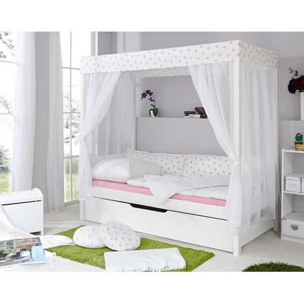 TICAA Letto a baldacchino Stelle bianco/rosa var. 1 con letto estraibile