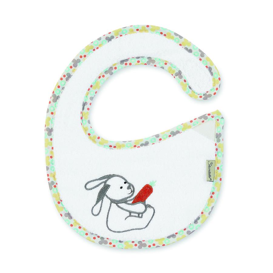 Sterntaler Plastic Slabbetje met klittenbandsluiting Waldis Hoppel wit