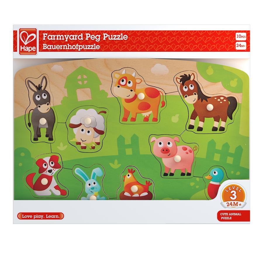 Hape Puzzle animaux de ferme bois 10 pièces E1408