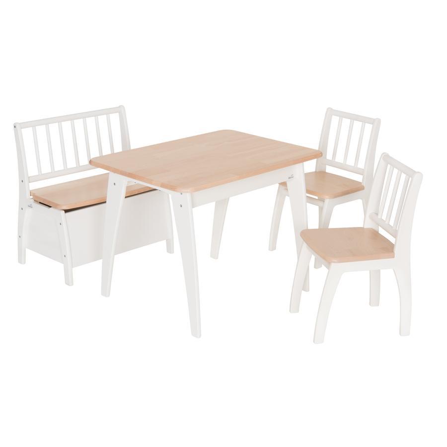 Geuther Kindertafel en stoelen Bambino wit/natuur