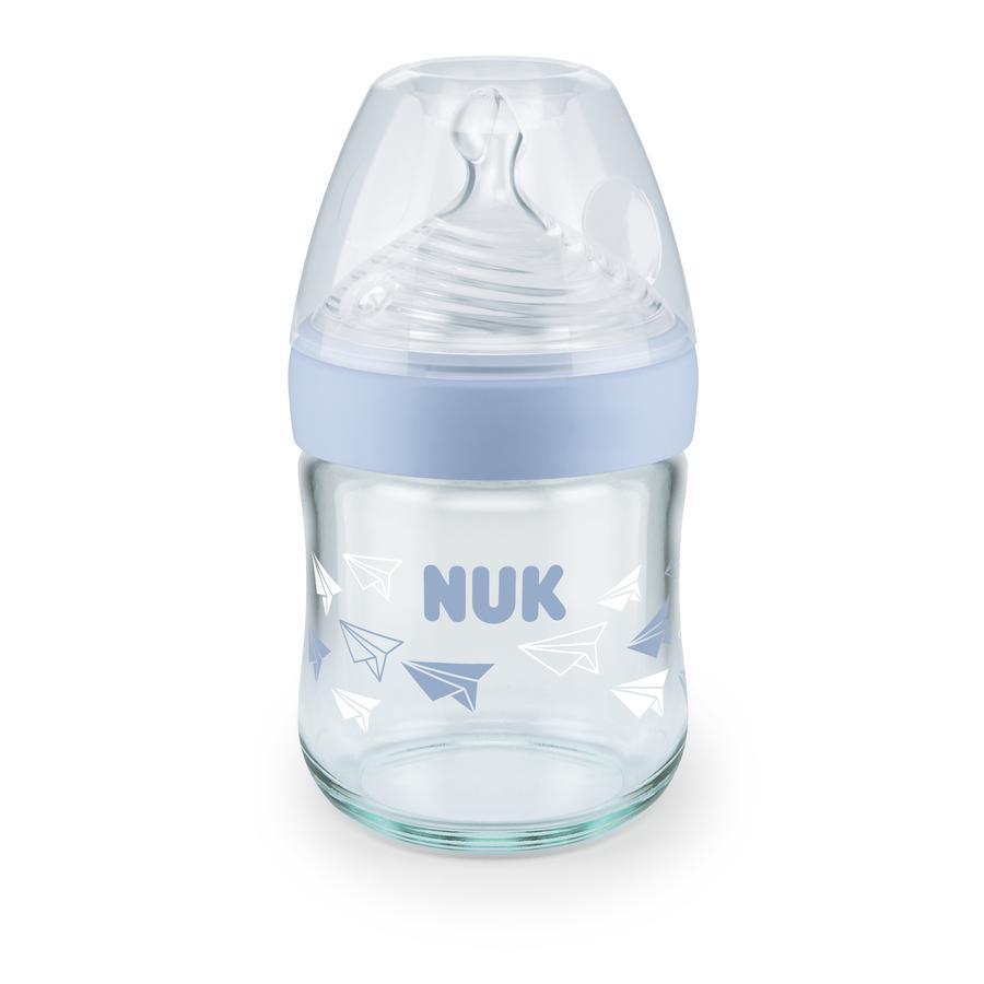 NUK Glasflasche Nature Sense blau 120 ml ab der Geburt mit Silikon Trinksauger Gr. S