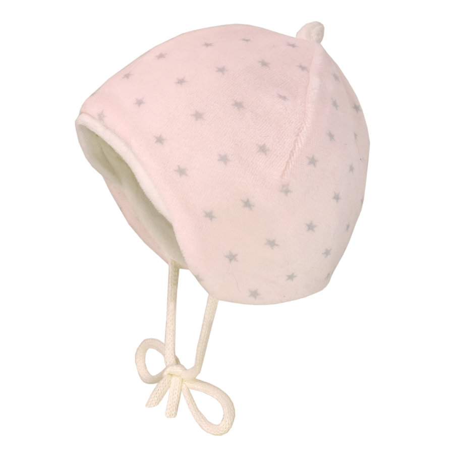maximo Mütze Samt blassrosa/grau