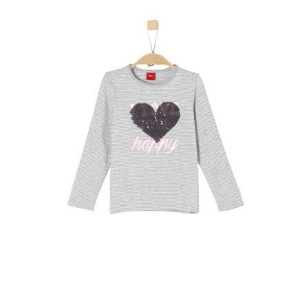 s.Oliver Girl s shirt met lange mouwen grijs/zwarte strepen