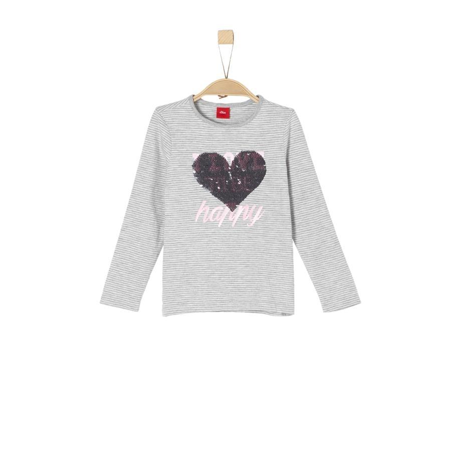 s.Oliver Girl Camicia manica lunga s a righe grigio/nero