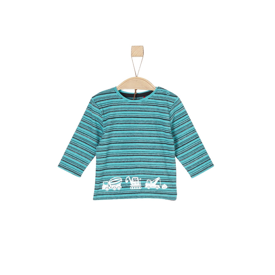 s.Oliver Boys Chemise manches longues rayures bleu vert