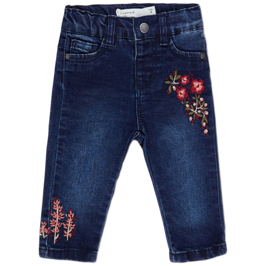 name it Girls Jeans Batilde Stickerei dark blue denim