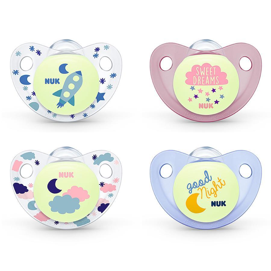 NUK Schnuller Night & Day Trendline Silikon ab der Geburt rosa / blau / transparent