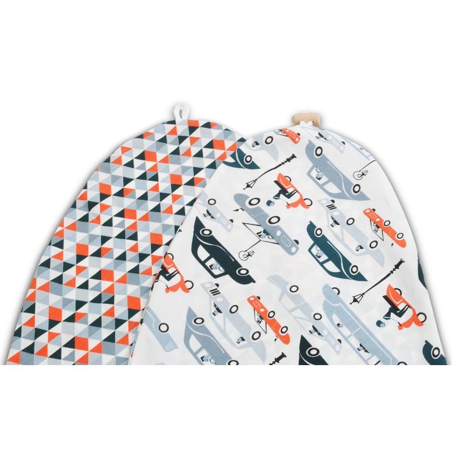 Pokrowiec na poduszkę do karmienia - Autka i trójkąty