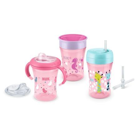NUK Beker-set, vanaf 6 maanden, 1 x Starter Cup, 1 x Fun Cup en 1 x Magic Cup, roze