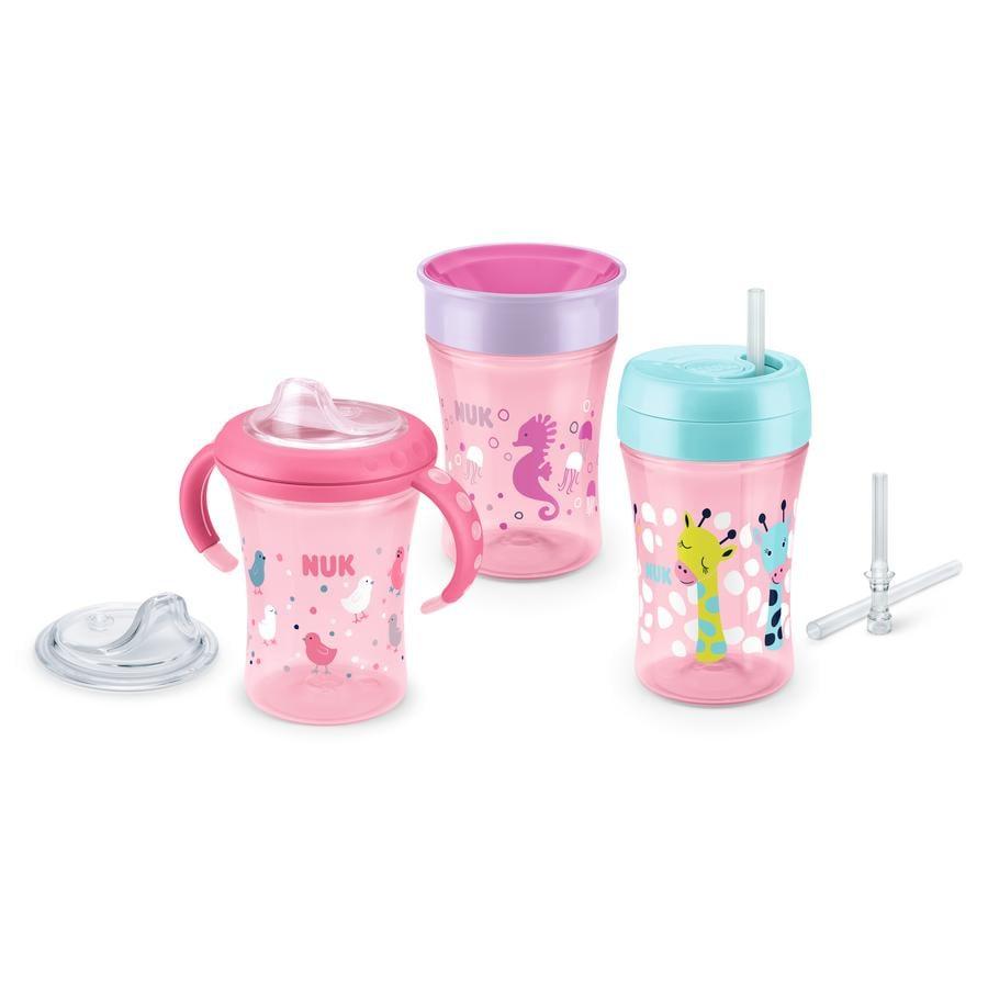 NUK Trinklern-Set Girl a partir de 6. meses contiene 1 x Starter Cup, 1 x Fun Cup und 1 x Magic Cup en rosa