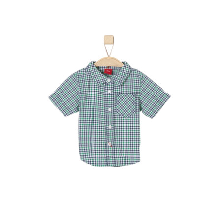 s.Oliver Boys Hemd kurzarm green check