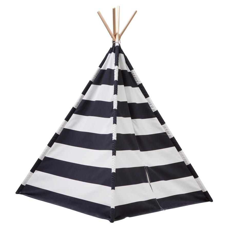 KIDS CONCEPT Tiipii-teltta, musta/valkoinen