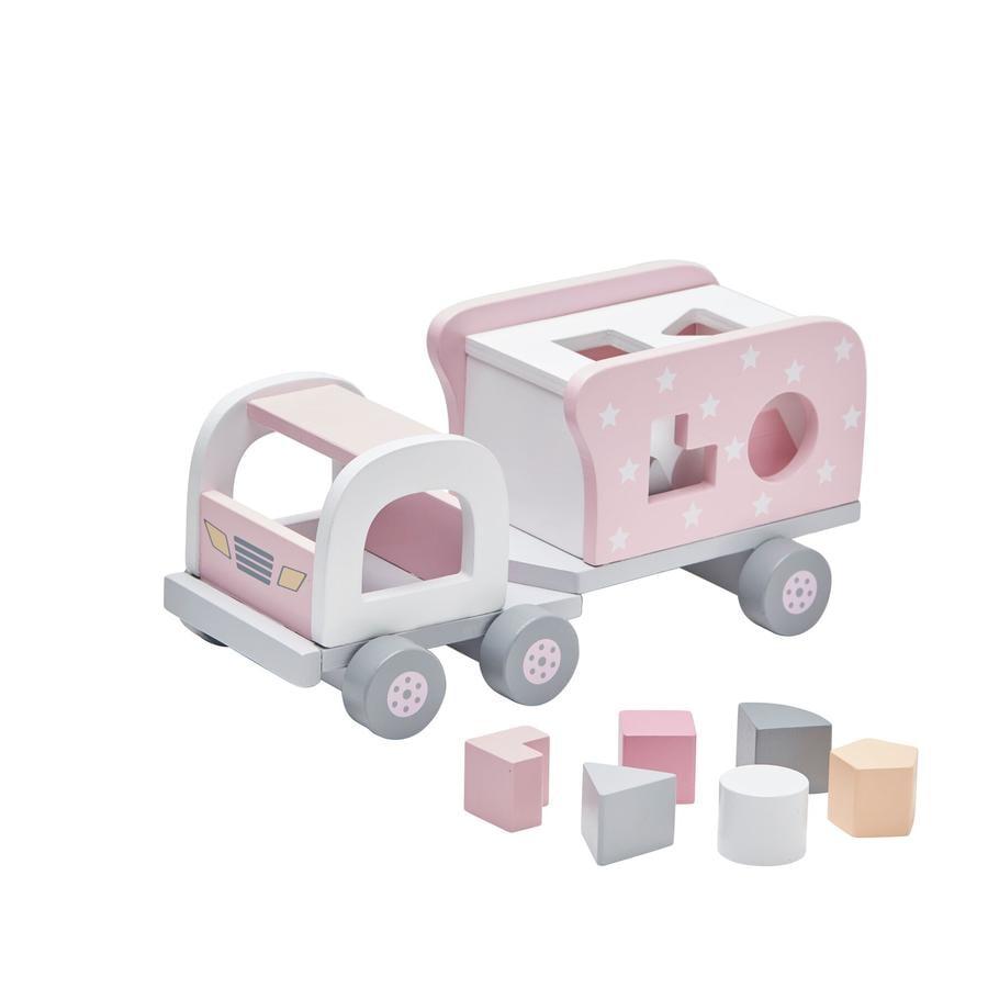 KIDS CONCEPT Blokkendoos Vrachtwagen Star, roze