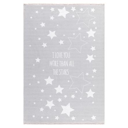 LIVONE lek og barneteppe Happy Rugs Love you Stars, grå / hvit, 100 x 160 cm