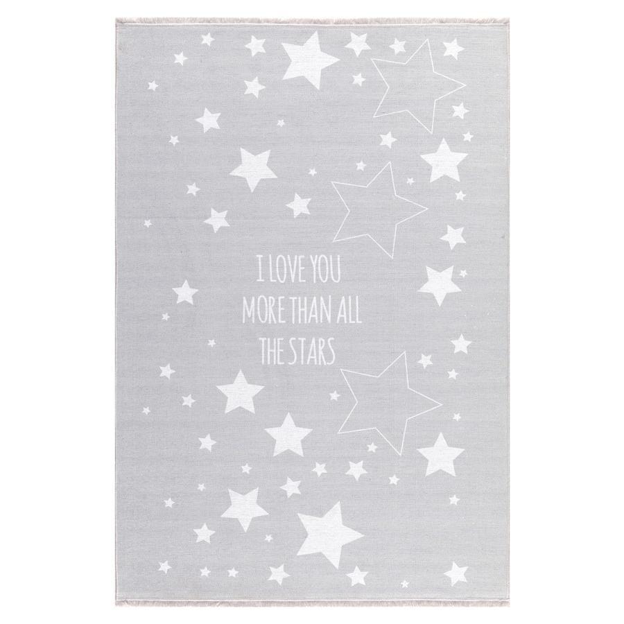 LIVONE Happy Rugs Lastenhuoneen matto, Love you Stars/harmaa/valkoinen, 100 x 160 cm