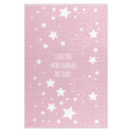 LIVONE Spiel- und Kinderteppich Happy Rugs Love you Stars, rosa/weiss, 140 x 190 cm