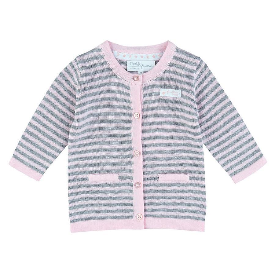 Feetje Gilet tricoté bébé gris/rose