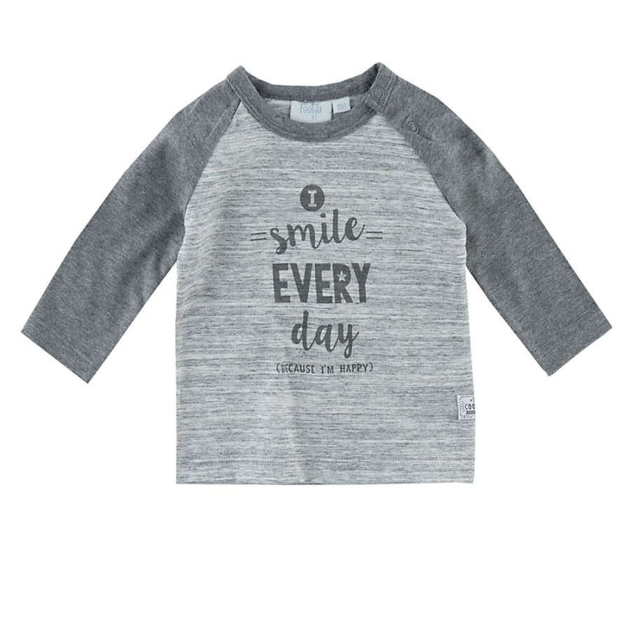 Feetje Langarmshirt Smile every Day Happy graumelee