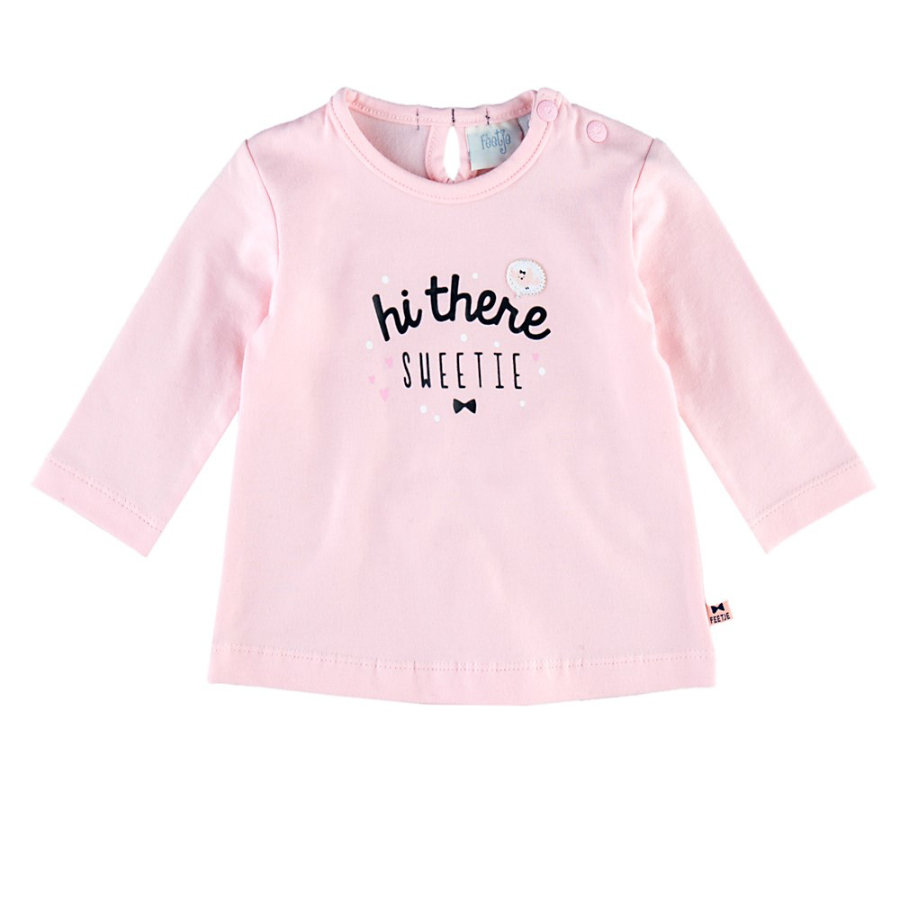 Feetje Girl s Chemise manches longues Hi there Dots & Bows rose