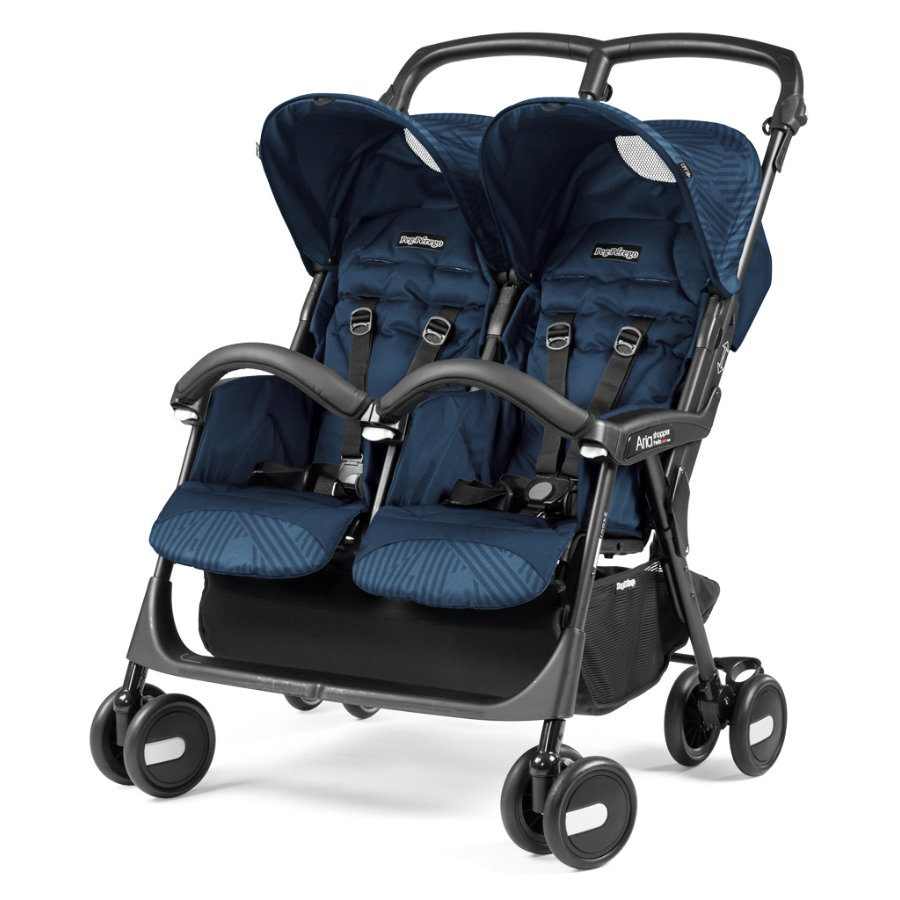 peg perego poussette double aria shopper twin geo bleu marine. Black Bedroom Furniture Sets. Home Design Ideas