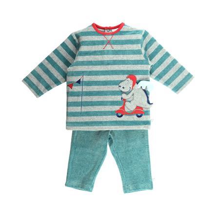 Noukie's Boys 2 częściowa piżama marl turkusowy pasek z turkusem.