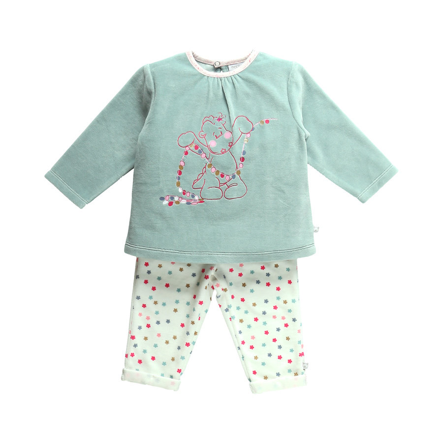 noukie Girl 's pyjama 2-delige witte aqua aop 2-delige aqua aop
