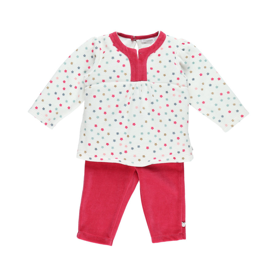 nBoys oukie´s pyjama 2 pièces blanc fushia