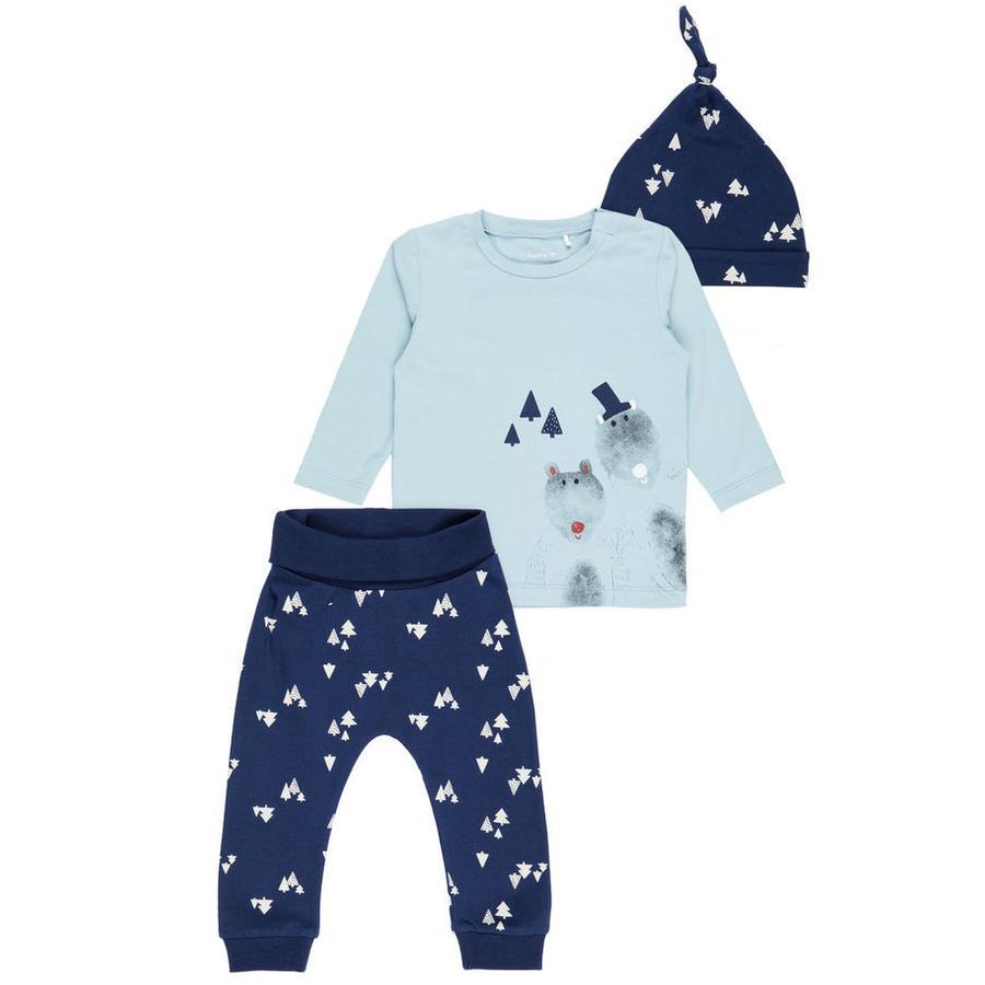 name it Boys Pijama 3 piezas Fitnis stone blue