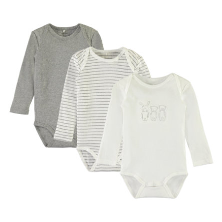 name it Langarm-Body 3er Pack grey melange