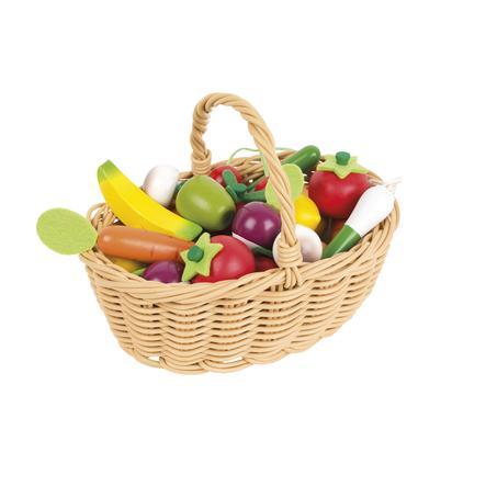 Janod® Dřevěná zelenina a ovoce v proutěném košíku