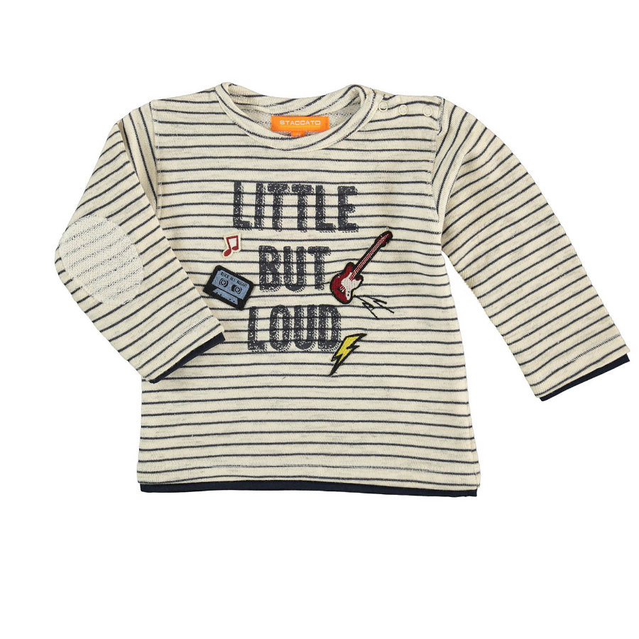STACCATO Boys Sweater met offwhite strepen in gebroken wit