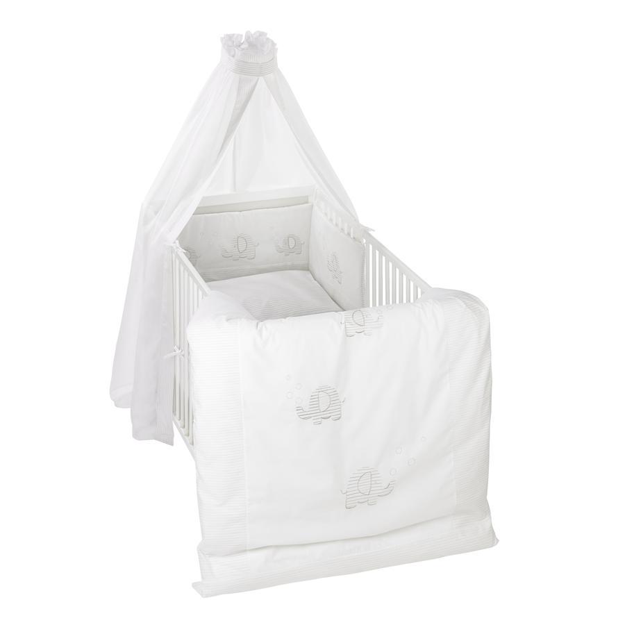 Alvi® Parure de lit enfant Éléphant rayures, 3 pièces 100x135 cm