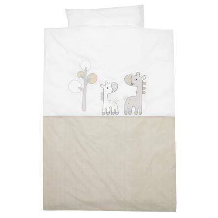 Alvi® Parure de lit enfant Girafe beige, 100x135 cm