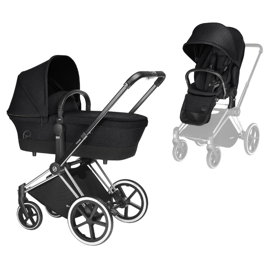 Cybex PLATINUM Kinderwagen Priam Set Chrome mit Lux Sitz Stardust Black