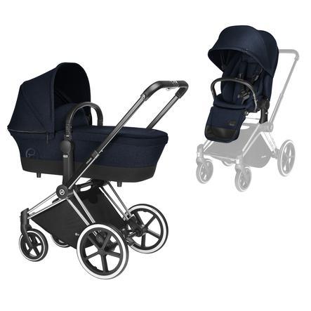 Cybex PLATINUM Kinderwagen Priam Set Chrome mit Lux Sitz Midnight Blue
