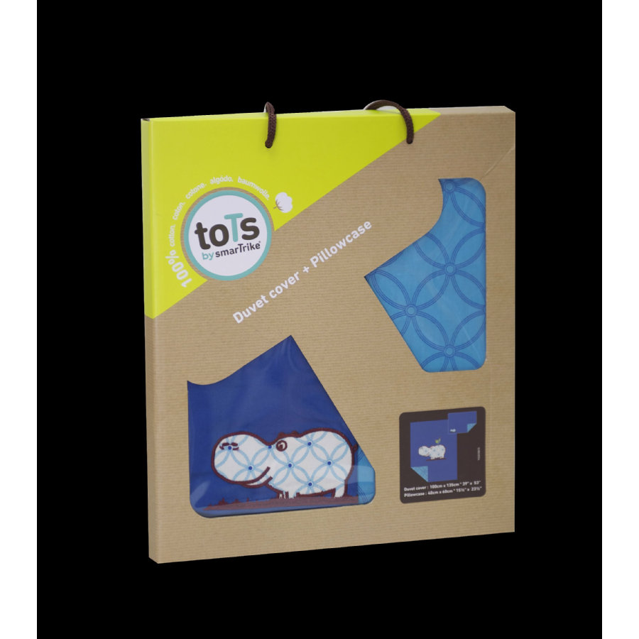 toTs by smarTrike® - Bettwäscheset Joy Hippo, blau