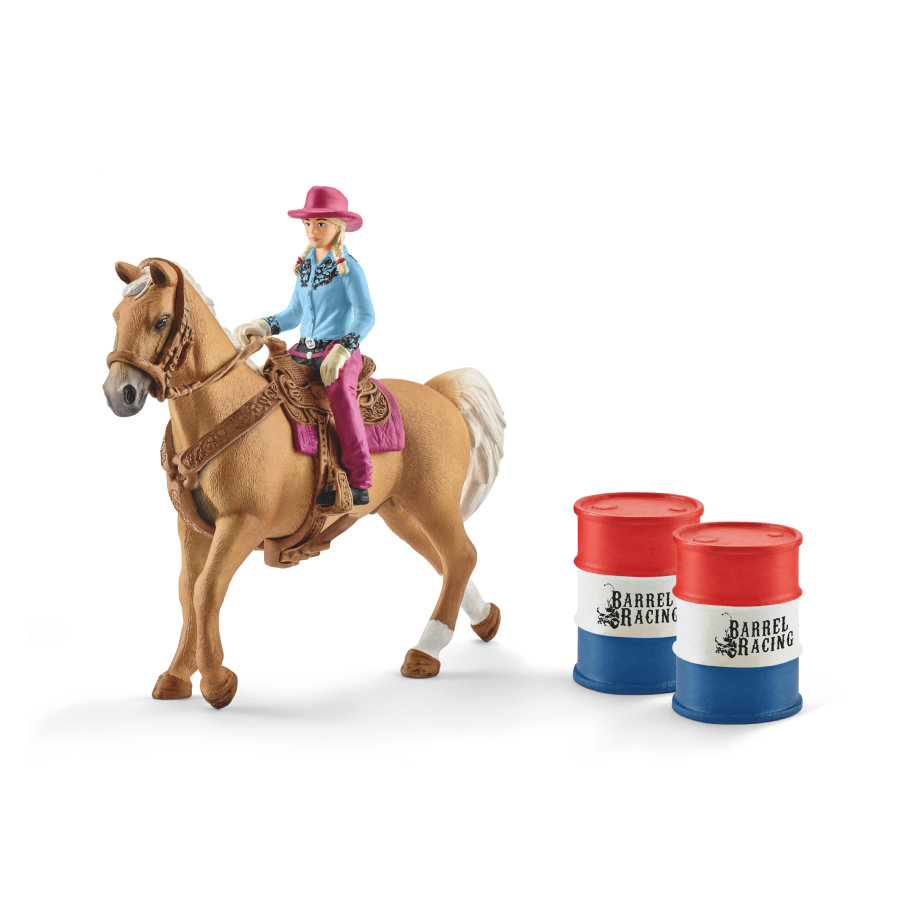 Schleich Figurine Barrel racing avec cowgirl 41417