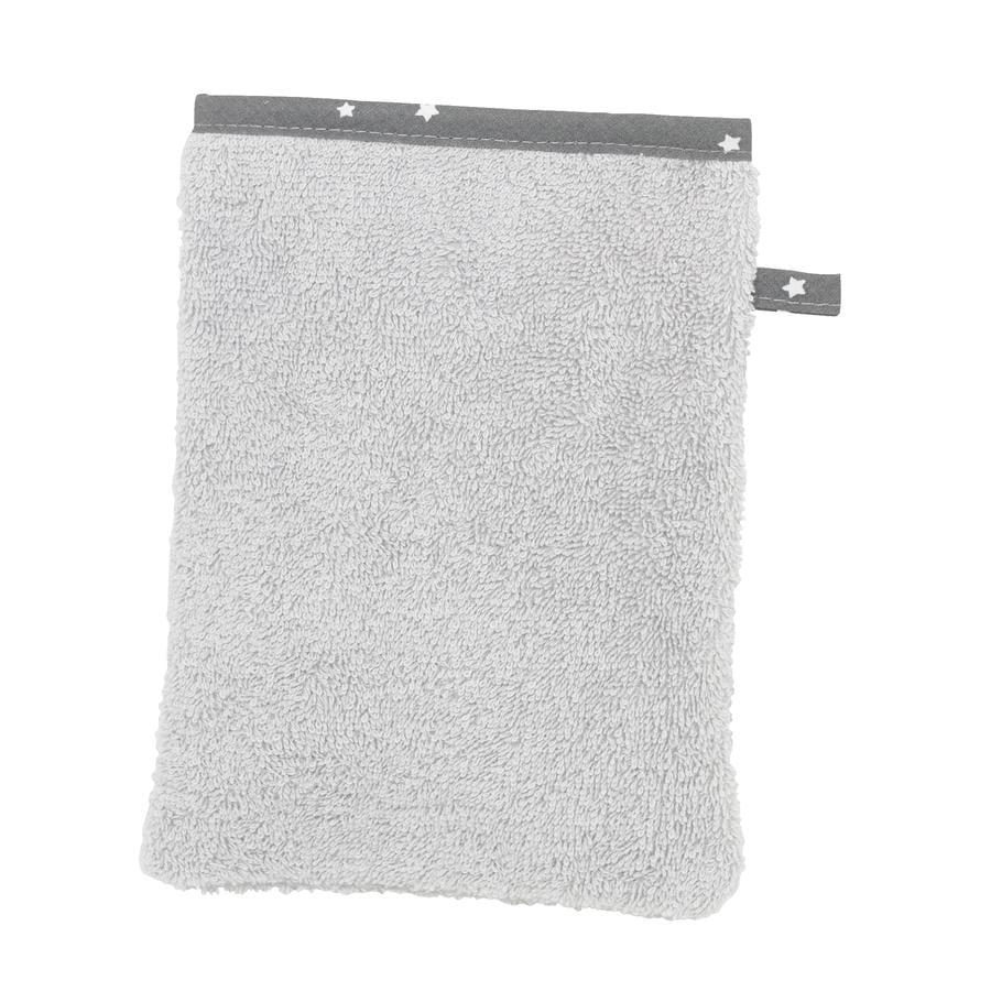 Alvi Waschhandschuh Frottier Stern und Sternchen grau