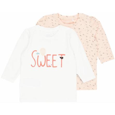 name it Girl s camisa de manga larga 2 pack Fille blanco nieve