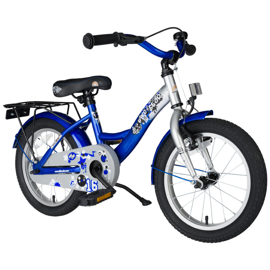 "bikestar Premium Rower 16"" Classic Silver Blue"