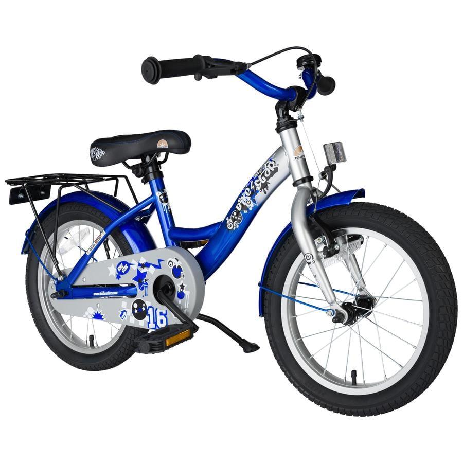 """bikestar Premium Sicherheits Kinderfahrrad 16"""" Classic Champion Silber & Abenteuerlich Blau"""